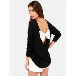 Frauen reizvolle Backless Bowknot Patchwork Langarm T Shirt