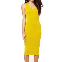 Frauen reizvolle Backless Sleeveless runde Kragen Fest dünne lange Kleid