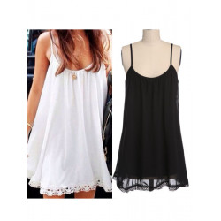 Women Sexy Chiffon Lace Sleeveless Blouse Bottom Tank Tops