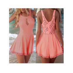 Women Sexy Cut Out Jumpsuit Sleeveless Lace Slim Shorts Playsuit
