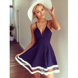 Frauen reizvoller tiefer V Kleid Sommer Spaghetti Bügel Partei Kleid