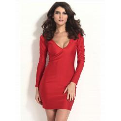 Frauen reizvoller tiefer V Ausschnitt Langarm Backless Enges Kleid