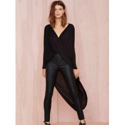 Women Sexy Deep V Twist Cross Fold Shirt Long Dovetail Loose Blouse