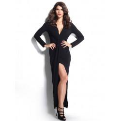 Women Sexy Deep V Twist Split Asymmetrical Dress