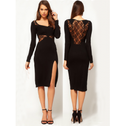 Women Sexy Lace Embroidery Floral Long Sleeve Split Party Dress Black