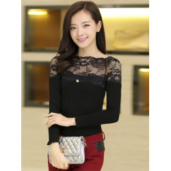 Women Sexy Lace Patchwork Long Sleeve Tops T-shirt