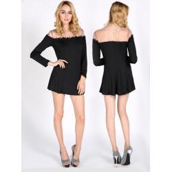 Women Sexy Lace Patchwork Mesh Long Sleeve Dress Cocktail Short Dress