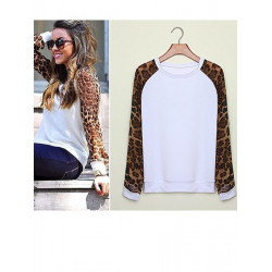 Women Sexy Leopard Chiffon Loose Casual Long Tops Shirt Blouse