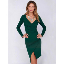 Women Sexy Long Seelve Waist fold Deep V Irregular Pencil Dress