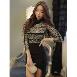 Women Sexy Long Sleeve Shirt Back Zipper Lace Blouse