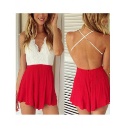 Kvinder Sexy Mini Kjole Playsuit Backless Deep V Neck Jumpsuit Romper