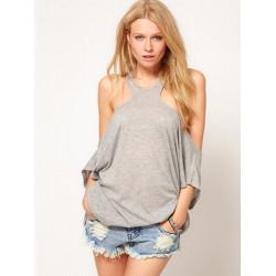Women Sexy Off Shoulder Backless Half Sleeve T-shirt