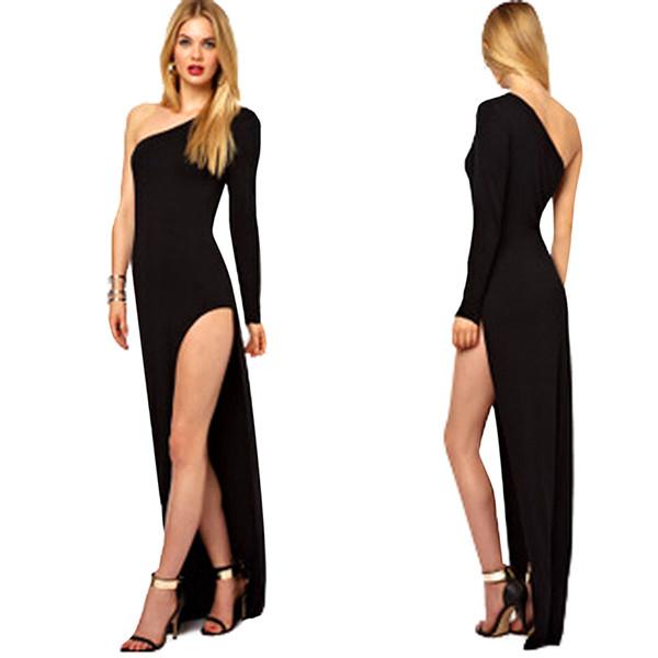 Women Sexy One Shoulder High Side Split Cocktail Evening Dress Women's Clothing