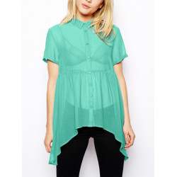 Women Sexy Perspective Chiffon Candy Color Short Sleeve Shirt Blouse