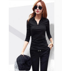 Women Sexy Pure Color Long Sleeve V-Neck Office T-shirt Blouses