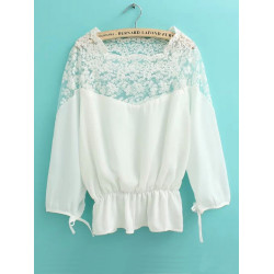 Women Sexy Sheer Embroidered Lace Chiffon Lantern Sleeve Tunic Blouse