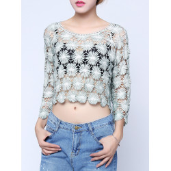 Women Sexy Short Hollow Out Smock Embroidery Floral Crochet T-shirts