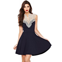 Women Sexy Sleeveless Lace Floral Evening Party Clubwear Pleated Dress