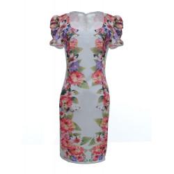 Frauen reizvolle Slim Fit Short Sleeve Blumen Cocktail Abendkleid