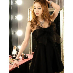 Women Sexy Strapless Backless Bowknot Short Mini Cocktail Party Dress