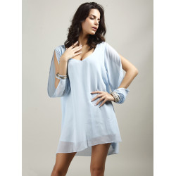 Women Sexy V-Neck A-Line Casual Long Split Sleeve Chiffon Mini Dress