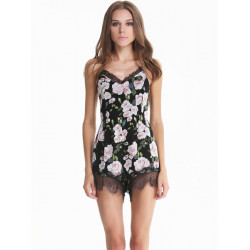 Women Sexy V-neck Jumpsuit Rompers Chiffon Floral Lace Shorts Playsuit