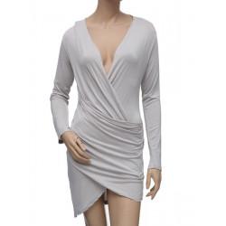 Kvinna Sexy V-ringad Twist Drape Slim Clubwear Klänning