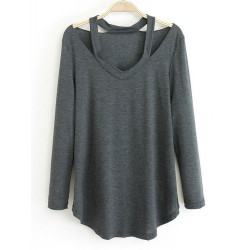 Women Sexy V Neck Hollow Off Shoulder Long Sleeve Loose Blouse