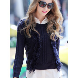 Women Short Tassels Long Sleeve Knitted Twisted Pullover Sweater