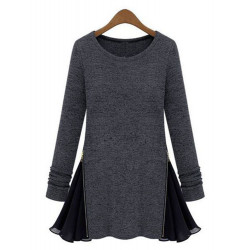 Kvinna Side Zipper Rufsar Hem Långärmad Plus Size T-shirt