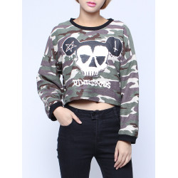 Women Skull Camouflage Printed Long Sleeve Short Pullover Sweatshirt