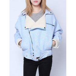 Frauen Sky Blue Blumenspitze Patchwork Revers Zipper Fleece Jacke