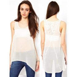 Women Sleeveless Irregular Loose Blouses Casual white See Through Vest