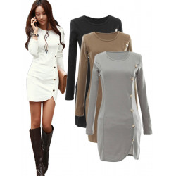 Women Slim Cotton Bottom Party Button Long Sleeve Mini Dress