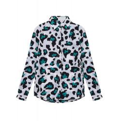 Frauen nehmen Leopard druckte lose Langarm Hemd Bluse