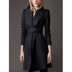 Women Slim Pinched Waist Long Coat Upscale Warm Woolen Overcoat