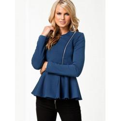 Women Slim Ruffle Hem Peplum Zipper Thin Short Jacket Outwear
