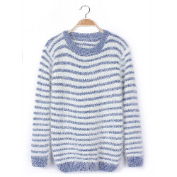 Women Soft Warm Stripes Knitted Pullover Sweater