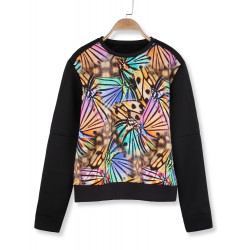 Kvinder Space Bomuld Butterfly Mønster Sweatshirts