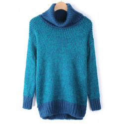 Women Stitching Color High Collar Long Sleeve Pullover Sweater