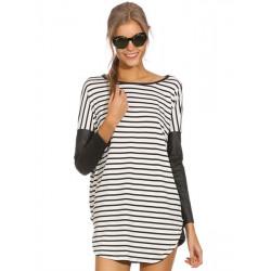 Women Stripe Long Sleeve PU Patchwork Pullover T-shirt