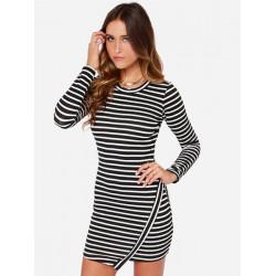 Women Stylish Long Sleeve Irregular Hem Striped Flouncing Dress