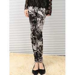 Women Stylish Printed Pants Elastic Stretch Pencil Leggings