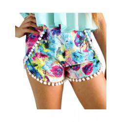 Women Summer Beach Shorts Floral Printed Elastic Chiffon Short Pants