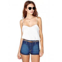 Kvinna Summer Sexy Off Shoulder Strap Chiffong Vest