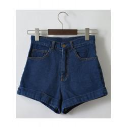 Kvinna Summer Vintage Kort Hög Midja Shorts Jeans