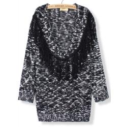 Women Tassels Macrame Sweater Deep V Neck Loose Pullover Knit Sweater