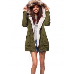 Women Thick Fleece Warm Faux Fur Coat Zip Hooded Parka Jackets