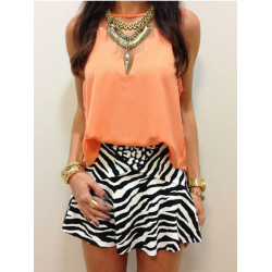 Women Trendy Geometry Sleeveless Chiffon Vest Blouse