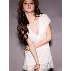 Women Tunic Deep V-neck Lace Short Sleeve Dress Top